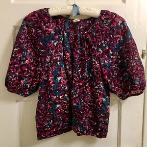 Anthropologie Edme & Esyllte sheer floral blouse